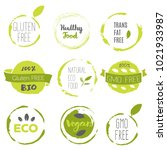 healthy food icons  labels.... | Shutterstock .eps vector #1021933987