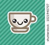 cute kawaii smiling coffee cup...   Shutterstock .eps vector #1021940707