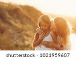 family  mother and daughter on...   Shutterstock . vector #1021959607