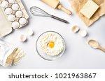 baking ingredients for pastry...   Shutterstock . vector #1021963867