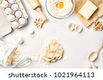 raw dough ready for kneading on ... | Shutterstock . vector #1021964113