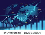 stock market or forex trading... | Shutterstock . vector #1021965007