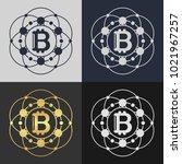 set of bitcoin symbol templates.... | Shutterstock .eps vector #1021967257
