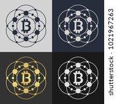 set of bitcoin symbol templates.... | Shutterstock .eps vector #1021967263