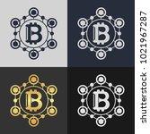 set of bitcoin symbol templates.... | Shutterstock .eps vector #1021967287