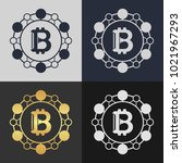 set of bitcoin symbol templates.... | Shutterstock .eps vector #1021967293