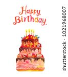 greeting card or poster. happy... | Shutterstock . vector #1021968007