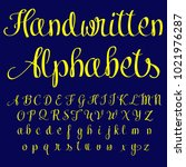 vector set of handwritten abc ... | Shutterstock .eps vector #1021976287