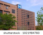 large brick building with... | Shutterstock . vector #1021984783