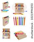 wax crayons  colorful  vector... | Shutterstock .eps vector #1021994353
