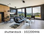 Modern interior design room with panoramic windows - stock photo