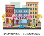 panorama of a  spring city with ... | Shutterstock .eps vector #1022050537