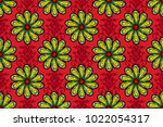 A Pattern Of Red  Black And...