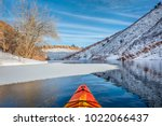 winter kayak paddling on... | Shutterstock . vector #1022066437