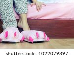female legs in warm pajama and...   Shutterstock . vector #1022079397