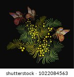 embroidery mimosa flowers and... | Shutterstock .eps vector #1022084563