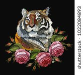 embroidery tiger and roses | Shutterstock .eps vector #1022084893