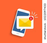 email notification concept. new ... | Shutterstock .eps vector #1022097433