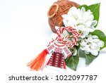 snowdrops and red and white... | Shutterstock . vector #1022097787