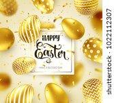 easter golden egg with... | Shutterstock .eps vector #1022112307