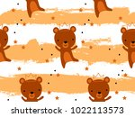 seamless pattern with cute bear ... | Shutterstock .eps vector #1022113573