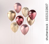 set of pink and golden glossy... | Shutterstock . vector #1022122837