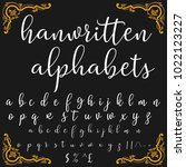 vector set of handwritten abc ... | Shutterstock .eps vector #1022123227
