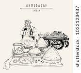 spice market in ahmedabad ... | Shutterstock .eps vector #1022123437