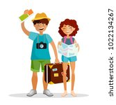 girl and boy tourists are... | Shutterstock .eps vector #1022134267