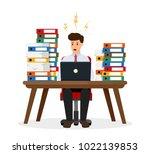 stressed office worker sitting...   Shutterstock .eps vector #1022139853