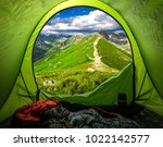 view from tent to tatras in... | Shutterstock . vector #1022142577