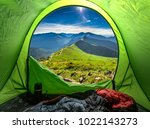 view from tent to mountains at... | Shutterstock . vector #1022143273