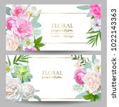 floral banners with tender... | Shutterstock .eps vector #1022143363