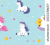 seamless pattern with cute...   Shutterstock .eps vector #1022158657