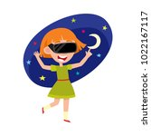 pretty teenage girl wearing... | Shutterstock .eps vector #1022167117