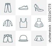 garment icons line style set... | Shutterstock .eps vector #1022167273
