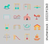 icons about amusement park with ... | Shutterstock .eps vector #1022191363