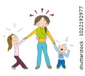 naughty kids  siblings ... | Shutterstock .eps vector #1022192977