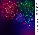 colorful fireworks on a purple...   Shutterstock .eps vector #1022194393