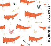 funny foxes pattern  hand drawn ... | Shutterstock .eps vector #1022195167