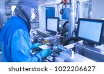 Small photo of Abstract, blurry, bokeh background, image for the background.The operator on the production of lithium-ion battery