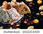 fruit cake dessert fig and... | Shutterstock . vector #1022211433