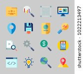 icons about seo with online... | Shutterstock .eps vector #1022213497