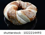 jewish bagel with sesame on... | Shutterstock . vector #1022214493