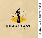 vector flat hand drawn alcohol...   Shutterstock .eps vector #1022218363