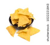 tortillas chips in black bowl... | Shutterstock . vector #1022221843