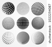 set of dotted spheres.vector... | Shutterstock .eps vector #1022254087