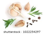 garlic with rosemary and... | Shutterstock . vector #1022254297