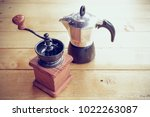 old vintage metallic coffee... | Shutterstock . vector #1022263087