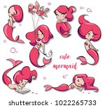 Stock vector set of cute cartoon mermaids 1022265733